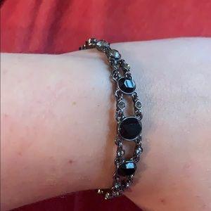 Black and silver jeweled bracelet